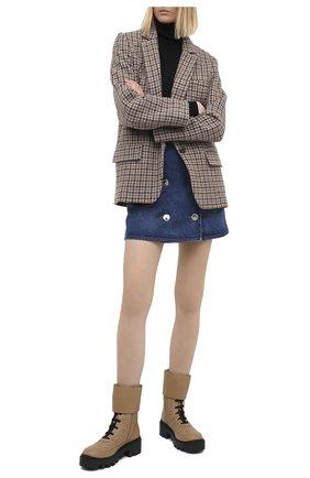 Женские кожаные ботинки frances GUCCI бежевого цвета, арт. 628855/DH7A0 | Фото 2