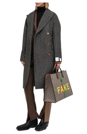 Женское шерстяное пальто GUCCI серого цвета, арт. 637043/ZAFIX | Фото 2