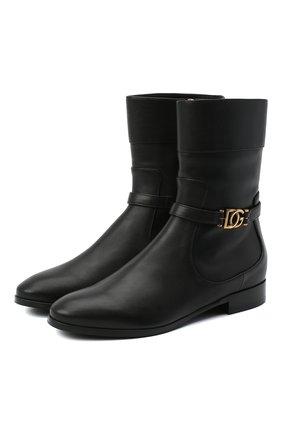 Женские кожаные полусапоги DOLCE & GABBANA черного цвета, арт. CT0679/AW695 | Фото 1