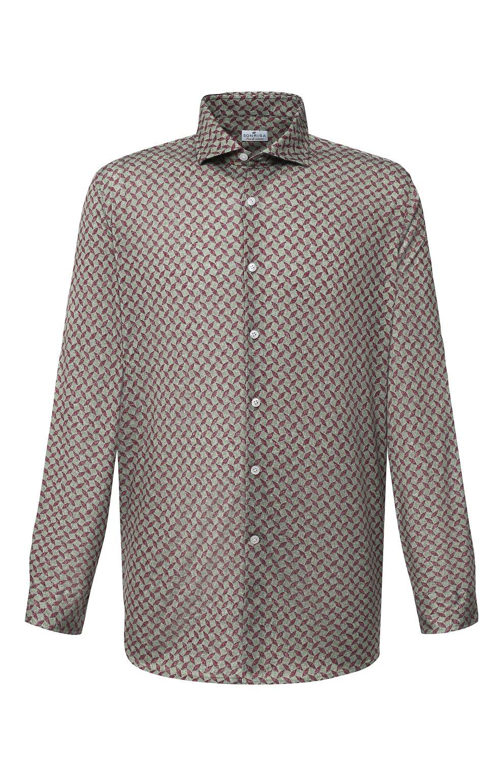 Мужская хлопковая рубашка SONRISA зеленого цвета, арт. IFJ15/J813/47-51 | Фото 1 (Big sizes: Big Sizes; Рукава: Длинные; Рубашки М: Regular Fit; Случай: Повседневный; Длина (для топов): Стандартные; Материал внешний: Хлопок; Стили: Кэжуэл)