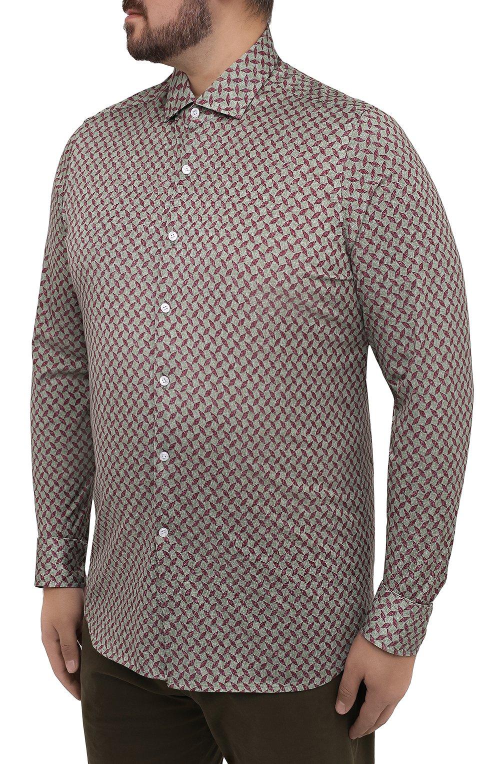 Мужская хлопковая рубашка SONRISA зеленого цвета, арт. IFJ15/J813/47-51 | Фото 3 (Big sizes: Big Sizes; Рукава: Длинные; Рубашки М: Regular Fit; Случай: Повседневный; Длина (для топов): Стандартные; Материал внешний: Хлопок; Стили: Кэжуэл)