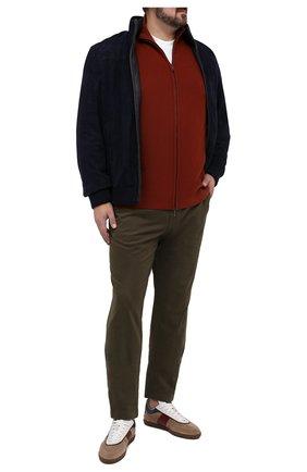 Мужской хлопковые брюки HILTL зеленого цвета, арт. 72514/60-70 | Фото 2