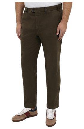 Мужские хлопковые брюки HILTL зеленого цвета, арт. 72514/60-70 | Фото 3