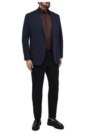 Мужской пиджак из шерсти и хлопка EDUARD DRESSLER синего цвета, арт. 64G1/26J05 | Фото 2