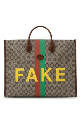 Мужская сумка-тоут «fake/not» GUCCI коричневого цвета, арт. 630353/2GCAG | Фото 1
