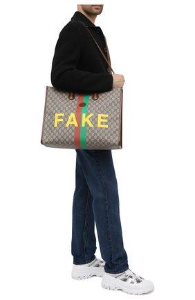 Мужская сумка-тоут «fake/not» GUCCI коричневого цвета, арт. 630353/2GCAG | Фото 2