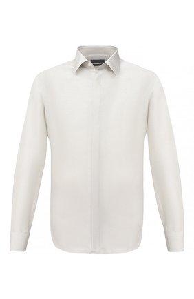 Мужская шелковая сорочка CORNELIANI светло-серого цвета, арт. 86P082-0811100/00 | Фото 1