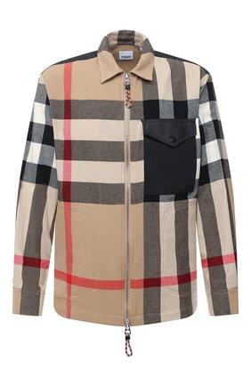 Мужская рубашка из шерсти и хлопка BURBERRY бежевого цвета, арт. 8033815 | Фото 1