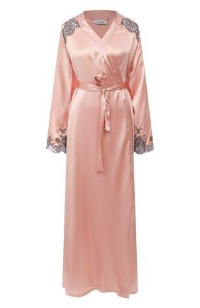 Женский шелковый халат I.D. SARRIERI розового цвета, арт. L4871 | Фото 1