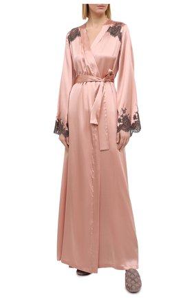 Женский шелковый халат I.D. SARRIERI розового цвета, арт. L4871 | Фото 2