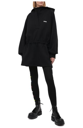 Женское хлопковое платье MSGM черного цвета, арт. 2942MDH160 207999 | Фото 2