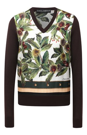 Женская пуловер из кашемира и шелка DOLCE & GABBANA коричневого цвета, арт. FX941T/JAM15 | Фото 1