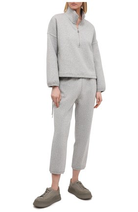 Женские хлопковые брюки JAMES PERSE серого цвета, арт. WRDK1860 | Фото 2