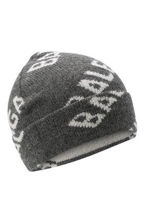 Женская шерстяная шапка BALENCIAGA серого цвета, арт. 633717/T1567 | Фото 1 (Материал: Шерсть)