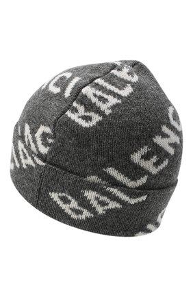 Женская шерстяная шапка BALENCIAGA серого цвета, арт. 633717/T1567 | Фото 2 (Материал: Шерсть)