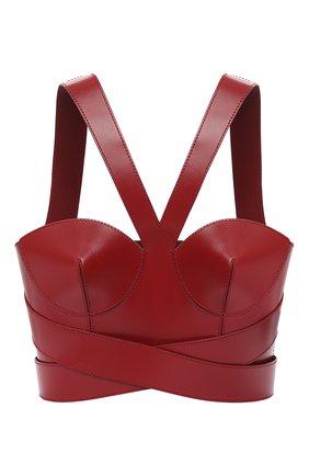 Женская кожаный топ ALEXANDER MCQUEEN красного цвета, арт. 633550/Q5AEC | Фото 1
