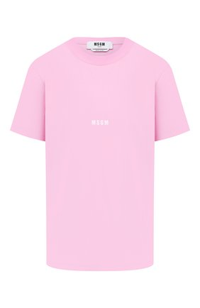 Женская хлопковая футболка MSGM светло-розового цвета, арт. 2942MDM100 207998 | Фото 1