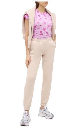 Женская хлопковая футболка MONROW розового цвета, арт. HT0324-5 | Фото 2