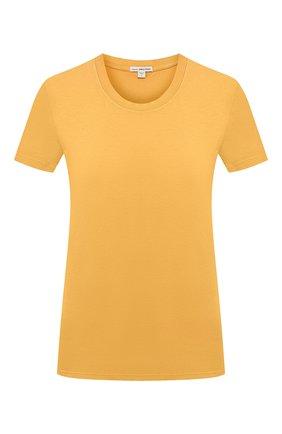 Женская хлопковая футболка JAMES PERSE желтого цвета, арт. WLJ3114 | Фото 1