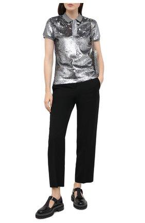 Женское хлопковое поло POLO RALPH LAUREN серого цвета, арт. 211814471 | Фото 2 (Материал внешний: Хлопок; Длина (для топов): Стандартные; Рукава: Короткие)
