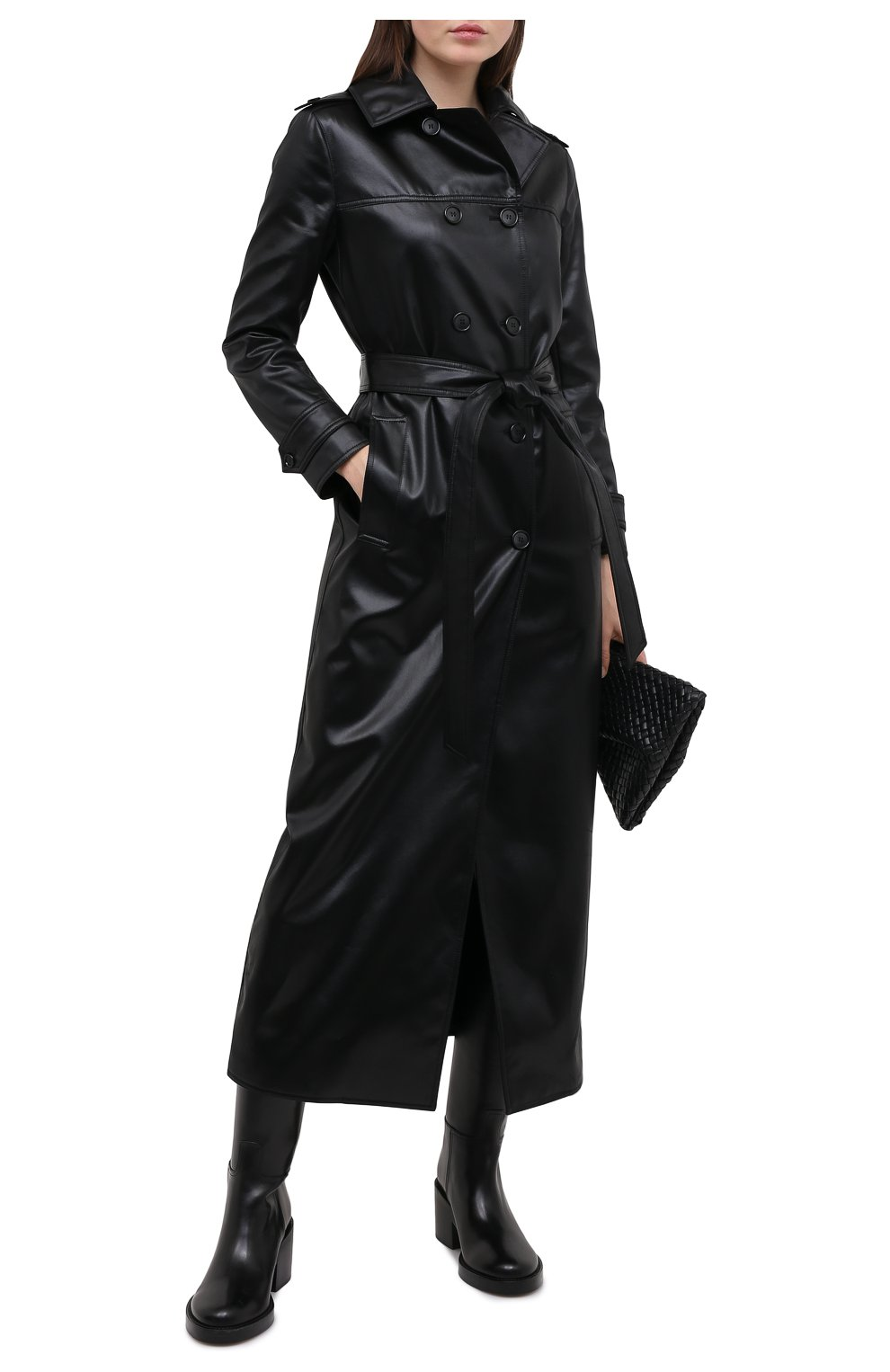 Женский плащ SAINT LAURENT черного цвета, арт. 634650/Y7B15   Фото 2 (Рукава: Длинные; Материал внешний: Синтетический материал, Хлопок; Стили: Классический; Длина (верхняя одежда): Длинные; Материал подклада: Купро)