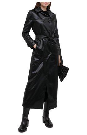 Женский плащ SAINT LAURENT черного цвета, арт. 634650/Y7B15   Фото 2