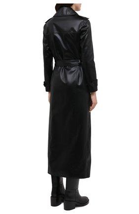 Женский плащ SAINT LAURENT черного цвета, арт. 634650/Y7B15   Фото 4 (Рукава: Длинные; Материал внешний: Синтетический материал, Хлопок; Стили: Классический; Длина (верхняя одежда): Длинные; Материал подклада: Купро)