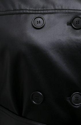 Женский плащ SAINT LAURENT черного цвета, арт. 634650/Y7B15   Фото 5 (Рукава: Длинные; Материал внешний: Синтетический материал, Хлопок; Стили: Классический; Длина (верхняя одежда): Длинные; Материал подклада: Купро)