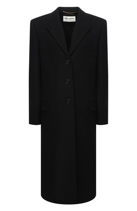 Женское шерстяное пальто SAINT LAURENT черного цвета, арт. 634973/Y177W   Фото 1