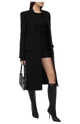 Женское шерстяное пальто SAINT LAURENT черного цвета, арт. 634973/Y177W   Фото 2