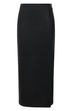Женская кожаная юбка BALENCIAGA черного цвета, арт. 640981/TES07 | Фото 1