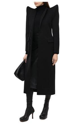 Женская кожаная юбка BALENCIAGA черного цвета, арт. 640981/TES07 | Фото 2