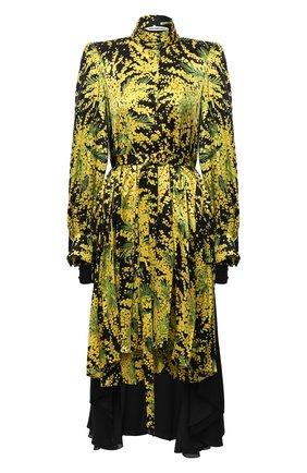 Женское шелковое платье BALENCIAGA желтого цвета, арт. 642235/TJL16 | Фото 1