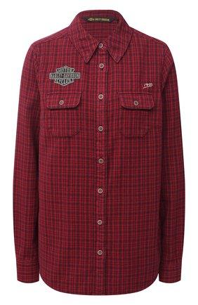 Женская хлопковая рубашка general motorclothes HARLEY-DAVIDSON красного цвета, арт. 99038-20VW | Фото 1