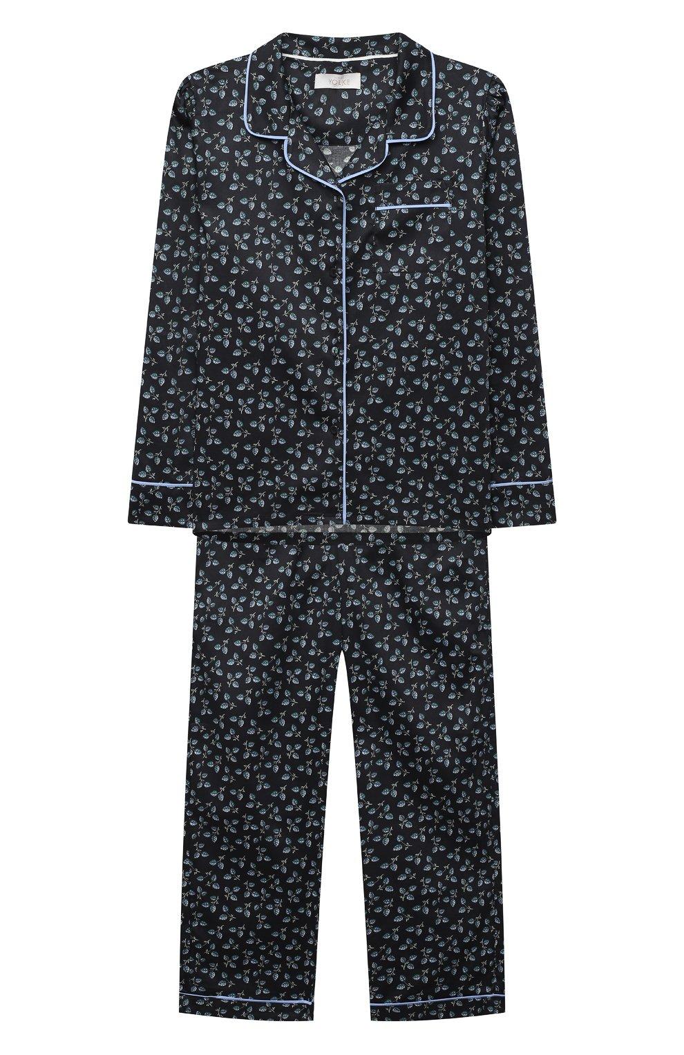 Детская хлопковая пижама LITTLE YOLKE черного цвета, арт. SS21-12C-LE-DE/9-12Y | Фото 1