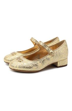 Детские туфли DOLCE & GABBANA золотого цвета, арт. D10559/AF530/29-36   Фото 1 (Материал внешний: Текстиль; Материал внутренний: Натуральная кожа)