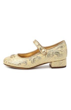 Детские туфли DOLCE & GABBANA золотого цвета, арт. D10559/AF530/29-36   Фото 2 (Материал внешний: Текстиль; Материал внутренний: Натуральная кожа)