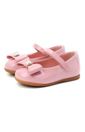Детские кожаные балетки DOLCE & GABBANA розового цвета, арт. D20068/A1328 | Фото 1 (Материал внутренний: Натуральная кожа)