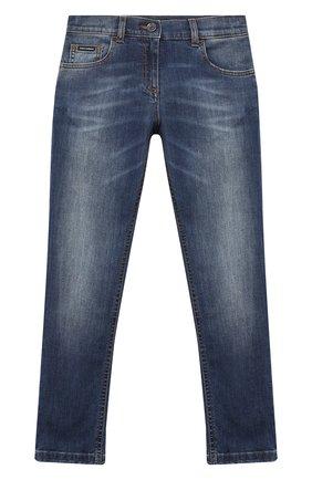 Детские джинсы DOLCE & GABBANA темно-синего цвета, арт. L51F53/LD719/8-14   Фото 1 (Материал внешний: Хлопок; Кросс-КТ: джинсы; Ростовка одежда: 10 - 11 лет   140 - 146см, 12 лет   152 см, 8 лет   128 см)