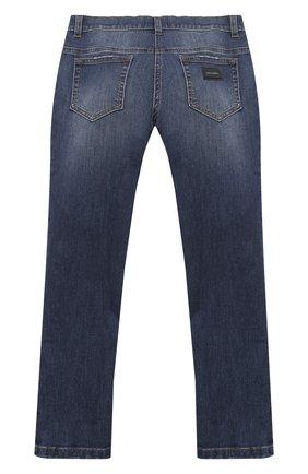 Детские джинсы DOLCE & GABBANA темно-синего цвета, арт. L51F53/LD719/8-14   Фото 2 (Материал внешний: Хлопок; Кросс-КТ: джинсы; Ростовка одежда: 10 - 11 лет   140 - 146см, 12 лет   152 см, 8 лет   128 см)