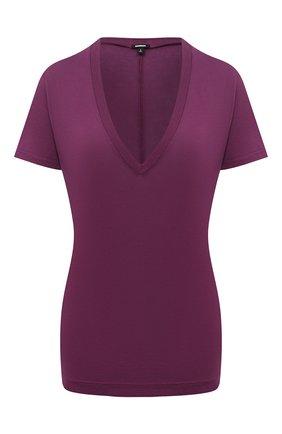 Женская футболка из смеси вискозы и хлопка MONROW бордового цвета, арт. HT218CM | Фото 1