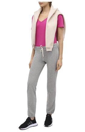 Женская футболка из смеси вискозы и хлопка MONROW розового цвета, арт. HT218CM | Фото 2