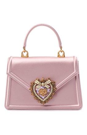 Женская сумка devotion DOLCE & GABBANA светло-розового цвета, арт. BB6711/AW132   Фото 1 (Ремень/цепочка: На ремешке; Материал: Текстиль; Размер: mini; Сумки-технические: Сумки через плечо, Сумки top-handle; Женское Кросс-КТ: Вечерняя сумка)