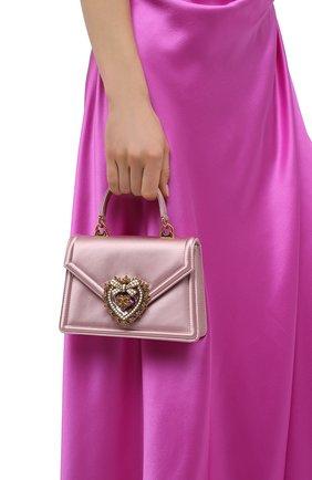 Женская сумка devotion DOLCE & GABBANA светло-розового цвета, арт. BB6711/AW132   Фото 2 (Ремень/цепочка: На ремешке; Материал: Текстиль; Размер: mini; Сумки-технические: Сумки через плечо, Сумки top-handle; Женское Кросс-КТ: Вечерняя сумка)