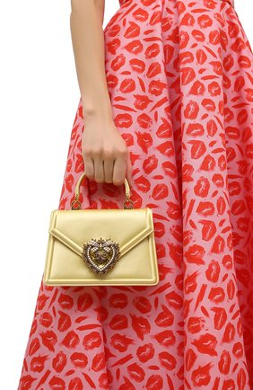 Женская сумка devotion DOLCE & GABBANA желтого цвета, арт. BB6711/AW132   Фото 2 (Размер: mini; Ремень/цепочка: На ремешке; Материал: Текстиль; Сумки-технические: Сумки через плечо, Сумки top-handle; Женское Кросс-КТ: Вечерняя сумка)