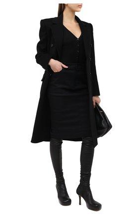 Женское хлопковое боди DSQUARED2 черного цвета, арт. D8F0B3310   Фото 2