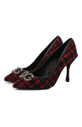 Женские комбинированные туфли lori DOLCE & GABBANA красного цвета, арт. CD1361/AJ859 | Фото 1