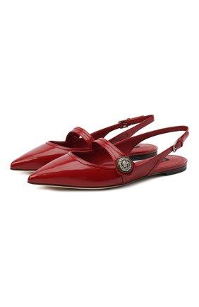 Женские кожаные балетки DOLCE & GABBANA красного цвета, арт. CG0385/A1037 | Фото 1