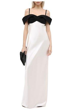 Женское шелковое платье BRANDON MAXWELL черно-белого цвета, арт. GN176PF20 | Фото 2