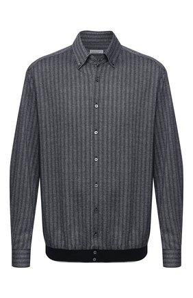 Мужская рубашка из шелка и хлопка ZILLI серого цвета, арт. MFU-00802-66025/0001/45-49 | Фото 1 (Материал внешний: Шелк, Хлопок; Рукава: Длинные; Длина (для топов): Стандартные; Мужское Кросс-КТ: Рубашка-одежда; Случай: Повседневный; Принт: С принтом; Рубашки М: Classic Fit; Стили: Кэжуэл; Big sizes: Big Sizes; Манжеты: На пуговицах; Воротник: Button down)
